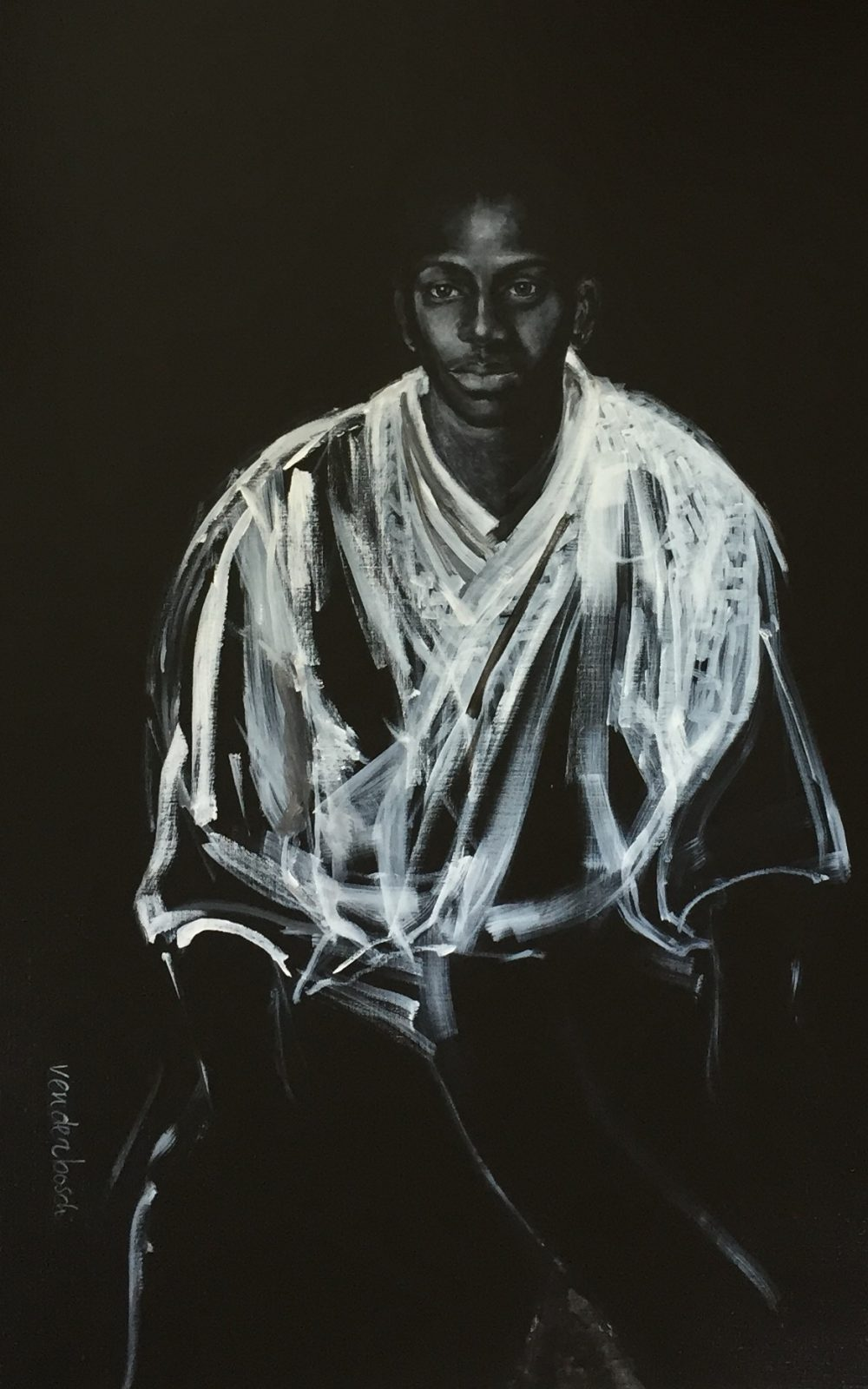 In thoughts, oil and acrylic on canvas, 120 x 100 cm