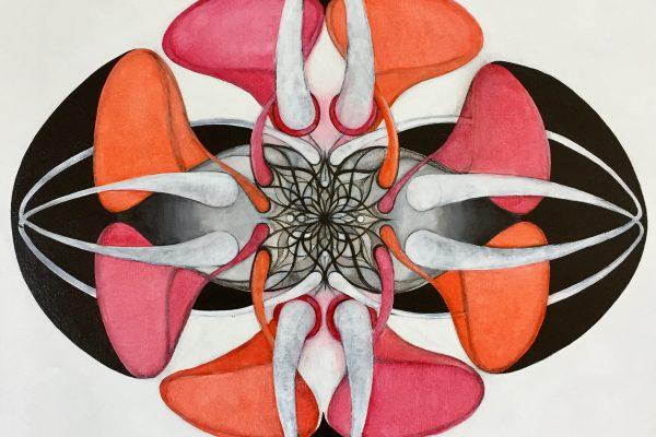 Botanical, Oil and acrylic on canvas, 70 x 70 cm